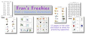 fran u0027s freebies opposites worksheets u2013 home education resources