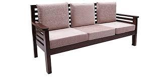 Buy Mariana Teak Wood Sofa Set    Seater In Fresh Walnut - Teak wood sofa sets
