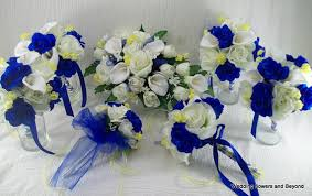 wedding flowers royal blue blue and yellow wedding flowers made to order 17 peice bridal