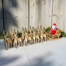 wooden santa s sleigh set 9 reindeer wildflower toys
