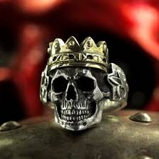 silver rings skull images Silver skull ring with crown anatomically correct biker jewelry jpg