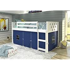 amazon com donco kids louvered low loft with blue tent twin