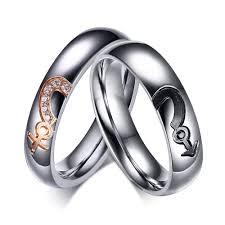 cheap titanium rings images Silver titanium steel round cut gemstone promise ring for couples jpg