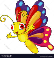 funny butterfly cartoon royalty free vector image