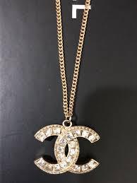rhinestone pendant necklace images Authentic chanel gold crystal rhinestone pendant cc logo necklace jpeg