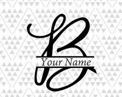 monogram letter b letter b vinyl etsy