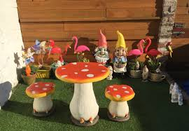 my yarden toadstool bistro set from the range giant gnomes from