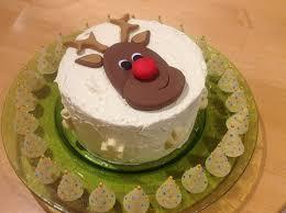 rudolph cake with white chocolate christmas trees geraldine
