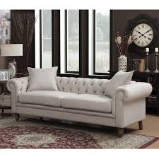 Chesterfield Tufted Sofa by Home Living Juliet Small Chesterfield Tufted Beige Linen Fabric