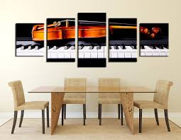 music wall decor 5 piece canvas music notes grey huge pictures