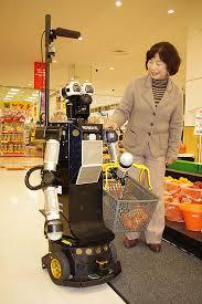 supermarket robot to help the elderly w video
