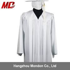 white cap and gown wholesale white matte graduation gown for college buy