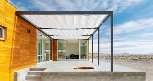 Contemporary Retractable Awnings Prefab Desert Getaway House With Retractable Covered Deck