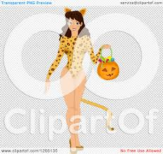 jaguar costume clipart of a brunette caucasian woman trick or treating in a