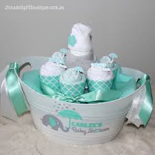 baby shower baskets baby shower gift basket small personalised mint and white newborn
