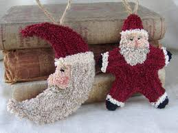 punch needle pattern santa ornaments santa moon