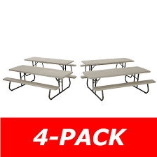 Lifetime Folding Picnic Table Lifetime Folding Picnic Tables 480123 Putty Color Commercial 8 4 Pack