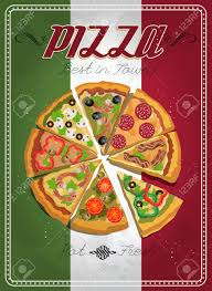 affiche cuisine vintage vector poster with pizza and a slice of pizza food