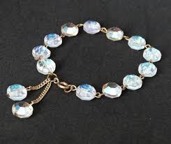crystal gold bracelet images Vintage crystal bead bracelet faceted clear crystals gold links jpg