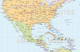 Central America Map by North America Region Simple Country Map 10 000 000 Scale In