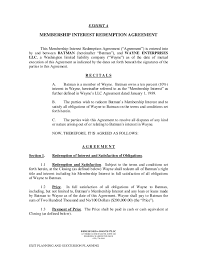 membership interst redemtion agreement template corporate