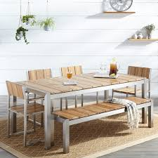 Outdoor Dining Room Macon 6 Piece Rectangular Teak Outdoor Dining Table Set Natural