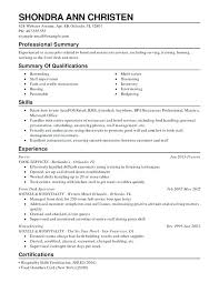 combination resume sample for career change restaurant food