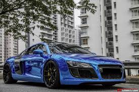 audi r8 blacked out gallery chrome blue audi r8 and nissan gt r gtspirit