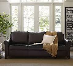 Gray Leather Sofas Leather Sofas Pottery Barn