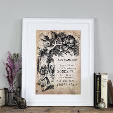 alice in wonderland gifts notonthehighstreet com alice in wonderland bonkers print baby s room