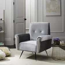 Grey Accent Chair Safavieh Mid Century Modern Mira Velvet Light Grey Accent Chair