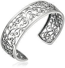 bracelet women silver images Sterling silver oxidized filigree cuff bracelet 6 5 jpg