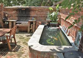 nice above ground patio eclectic with reclaimed brick water