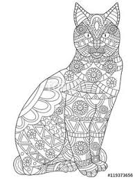 tabby cat coloring pages cat colorish coloring book for adults mandala relax by