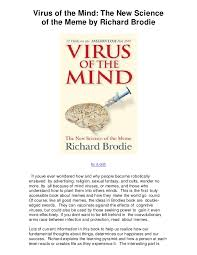 Virus Of The Mind The New Science Of The Meme - virus of the mind the new science of the meme by richard brodie kind