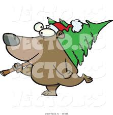 cartoon vector of a happy bear carrying a christmas tree by