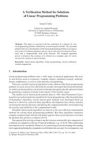 a verification method for solutions of linear programming problems