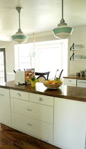 Vintage Island Lighting Schoolhouse Lights Bring Vintage Industrial Style To Kitchen