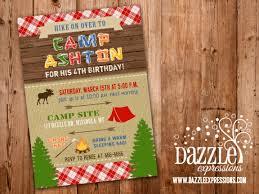 Backyard Birthday Party Invitations Printable Rustic Camping Birthday Invitation Backyard Sleepover
