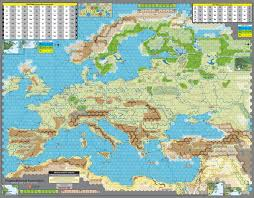 World War 2 Europe Map by Gmt Games Unconditional Surrender 2nd Printing
