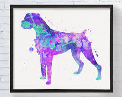 boxer dog wall art boxer dog etsy