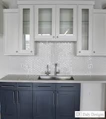 Kitchen Window Backsplash Navy Blue Ink Lowers White Uppers Client Office Break Room