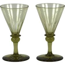 pair of circa 1820 english hand blown amber wine glasses from