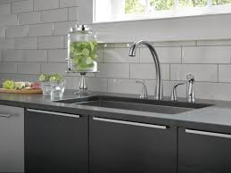 delta pilar double handle standard kitchen faucet with spray