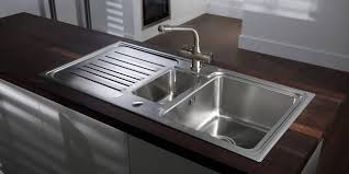 Undermount Sink In Butcher Block Countertop by Kitchen With Wallpaper And Undermount Stainless Steel Sink
