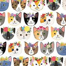 cat christmas wrapping paper hippie cats gift wrap roll 24 x 15 gift