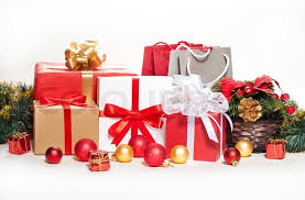 gifts and decorations on a white background stock