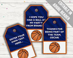 basketball treat bag toppers basketball team party tags