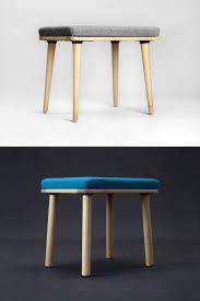 scandinavian modern upholstered stool in natural oak walnut beech