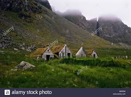 abandoned turf roof farmhouses used in as movie set green earth